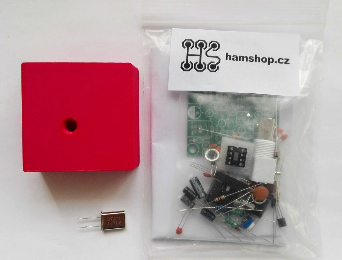 QRP Transceiver PIXIE 7.23 MHz stavebnice + krabička + krystal 7.030 MHz