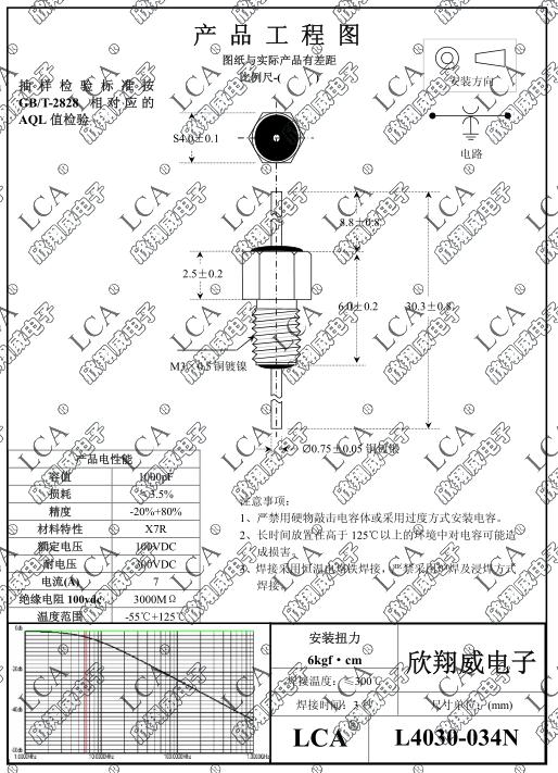Průchodkový kondenzátor 1nF/300V M3