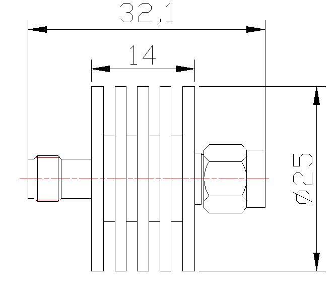 Fixed attenuator 20dB SMA, DC-6GHz 10W